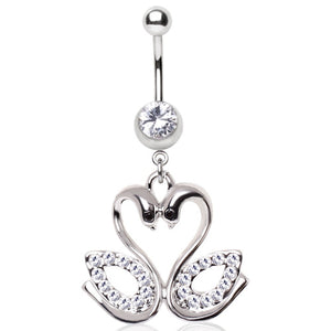 Navel Bar with Loved Up Swans - Dangling Belly Ring. Navel Rings Australia.