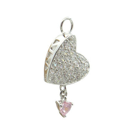 TummyToys® Swinger Charm. High End Belly Rings. TummyToys® Paved Cubic Zirconia Pink Drop Heart Charm