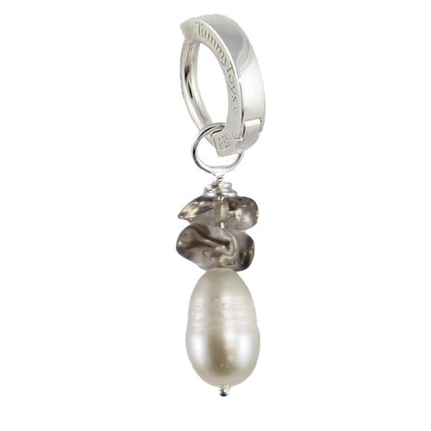 TummyToys® Patented Clasp. Navel Rings Australia. Saltwater Silver Pearl with Smokey Quartz
