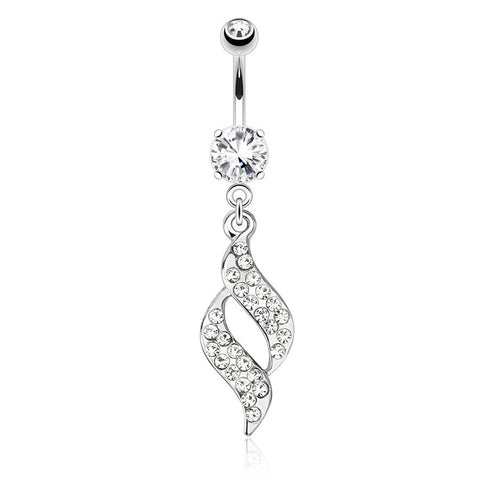 Dangling Belly Ring. Shop Belly Rings. Paved Swirl Belly Bar
