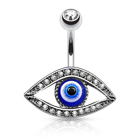 Fixed (non-dangle) Belly Bar. Shop Belly Rings. The Pyramids Eye Belly Piercing Ring