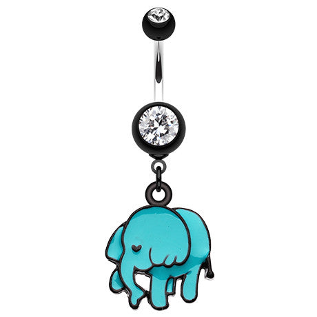 Dangling Belly Ring. Quality Belly Bars. Jumbo The Elephant Belly Button Bar