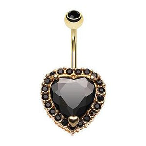 Black Titanic Heart Belly Button Ring - Fixed (non-dangle) Belly Bar. Navel Rings Australia.