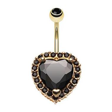 Fixed (non-dangle) Belly Bar. High End Belly Rings. Black Titanic Heart Belly Button Ring