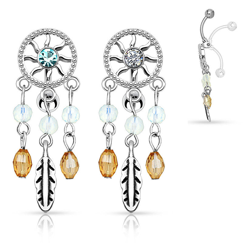Native Dreams Reverse Belly Button Ring - Reverse Top Down Belly Ring. Navel Rings Australia.
