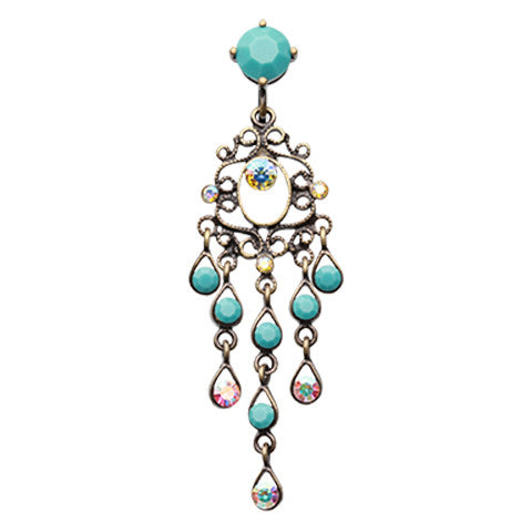 Turquoise Burnish Chandelier Belly Bar - Reverse Top Down Belly Ring. Navel Rings Australia.