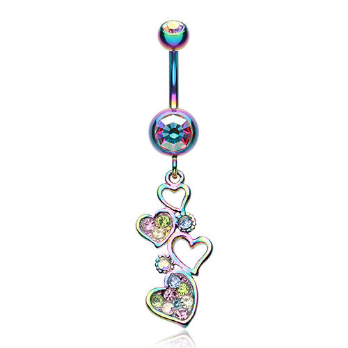 Rainbow Love Journey Navel Piercing Bar - Dangling Belly Ring. Navel Rings Australia.