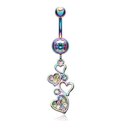 Dangling Belly Ring. Buy Belly Rings. Rainbow Love Journey Navel Piercing Bar