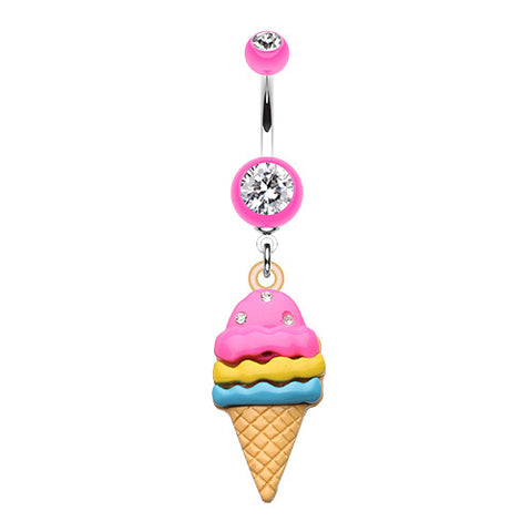 Dangling Belly Ring. Belly Bars Australia. Tropicandy Ice Cream Cone Belly Button Bar
