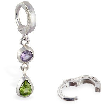 TummyToys® Amethyst Peridot Huggy - TummyToys® Patented Clasp. Navel Rings Australia.