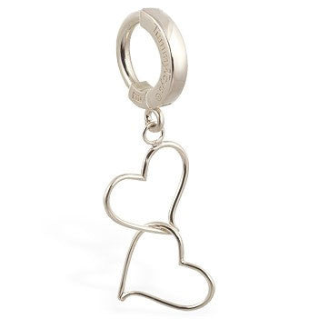 TummyToys® White Gold Hand Made Double Heart Belly Ring - TummyToys® Patented Clasp. Navel Rings Australia.