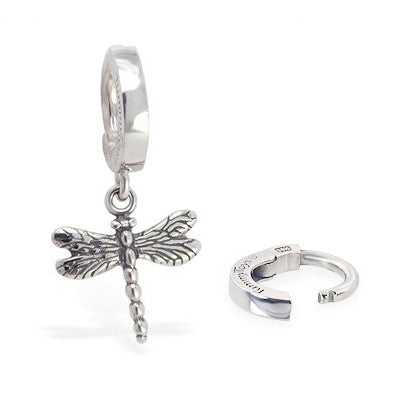 TummyToys® 925 Silver Dragonfly Huggy - TummyToys® Patented Clasp. Navel Rings Australia.