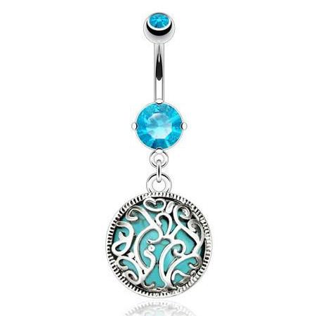 Dangling Belly Ring. Belly Rings Australia. Turquoise Entrapped Filigree Belly Bar