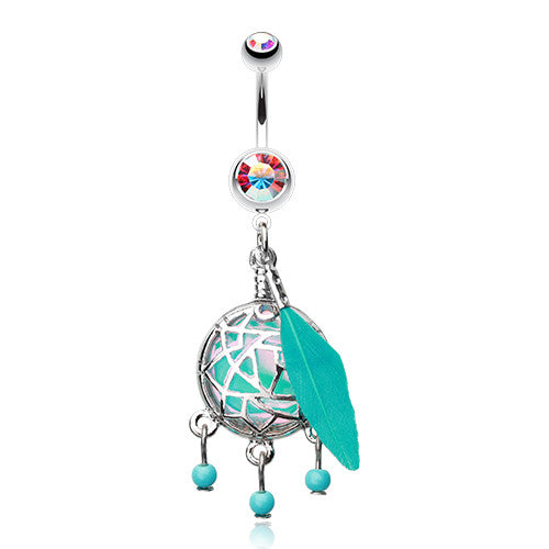 Turquoise Opal Dream Catcher Belly Bar - Dangling Belly Ring. Navel Rings Australia.