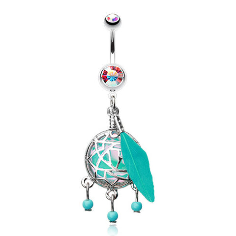 Dangling Belly Ring. Quality Belly Bars. Turquoise Opal Dream Catcher Belly Button Bar