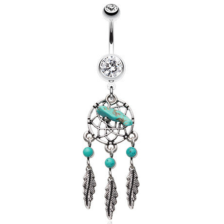 Dangling Belly Ring. Quality Belly Bars. Turquoise Slab Dream Catcher Navel Bar