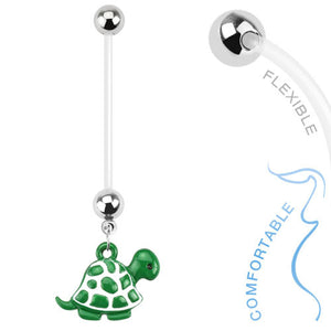 Turtle Charm Pregnancy Navel Bar - Maternity Belly Ring. Navel Rings Australia.