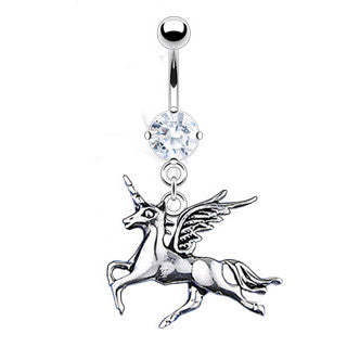 Dangling Belly Ring. Cute Belly Rings. Cortesia Unicorn Belly Bar