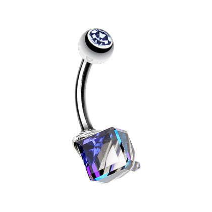 Fixed (non-dangle) Belly Bar. Cute Belly Rings. Prism Cube Navel Piercing Bar