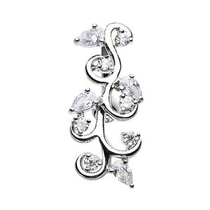 Flowering Vine Top Down Navel Bar - Reverse Top Down Belly Ring. Navel Rings Australia.