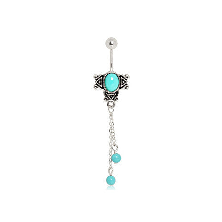 Balinese Aqua Charm Navel Bar - Dangling Belly Ring. Navel Rings Australia.