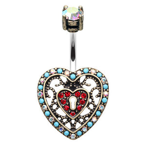 Boho Locked Heart Navel Ring - Fixed (non-dangle) Belly Bar. Navel Rings Australia.