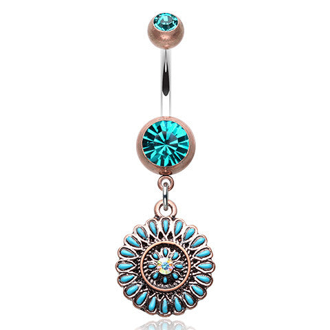 Antique Boho Sahasrara Chakra Belly Button Ring - Dangling Belly Ring. Navel Rings Australia.