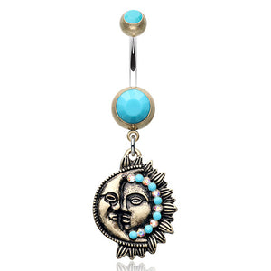Bohemian Sun and Moon Belly Button Ring - Dangling Belly Ring. Navel Rings Australia.