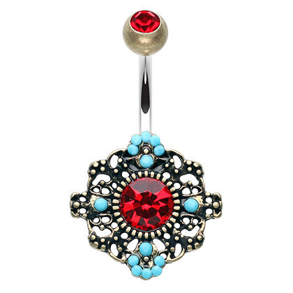 Go Boho Turquoise Burst Navel Piercing Bar - Fixed (non-dangle) Belly Bar. Navel Rings Australia.