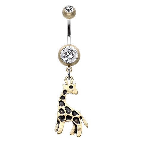 Balinese Giraffe Navel Bar in Brass Gold - Dangling Belly Ring. Navel Rings Australia.