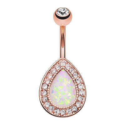 Rose Gold Opal Chakra Belly Button Ring - Fixed (non-dangle) Belly Bar. Navel Rings Australia.