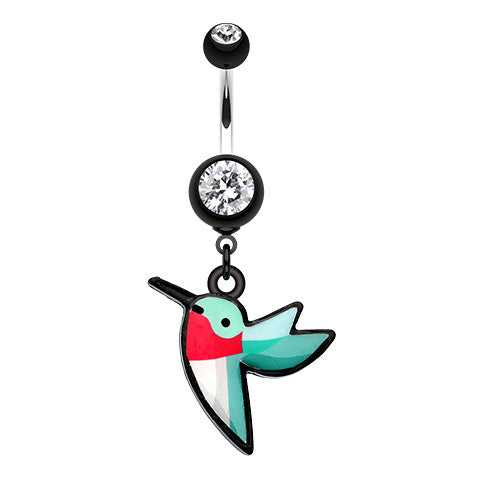 Dangling Belly Ring. Quality Belly Rings. Hummingbird Dangly Belly Bar