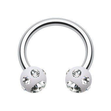 Circular Barbell / Horse Shoe. Buy Belly Rings. Jeweled White Acrylic Circular Barbell