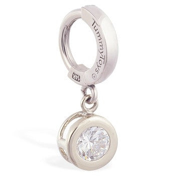 TummyToys® Patented Clasp. High End Belly Rings. TummyToys® Solid White Gold CZ Dangle
