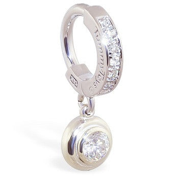 Solid 14k White Gold Navel Ring With Real Diamonds The