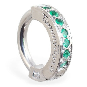 TummyToys® 14k Solid White Gold Emerald Paved Sleeper - TummyToys® Patented Clasp. Navel Rings Australia.
