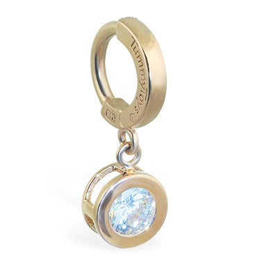 TummyToys® Solid Yellow Gold CZ Dangle - TummyToys® Patented Clasp. Navel Rings Australia.