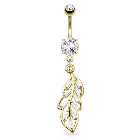 Dangling Belly Ring. Belly Bars Australia. Jungle Gems Leaflet Belly Dangle in Gold