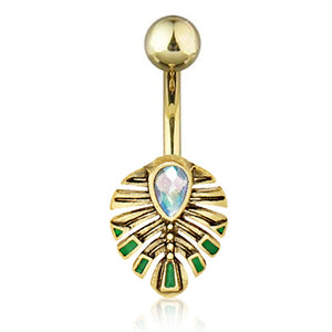 Deliciosa Opal Leaf Belly Ring - Fixed (non-dangle) Belly Bar. Navel Rings Australia.