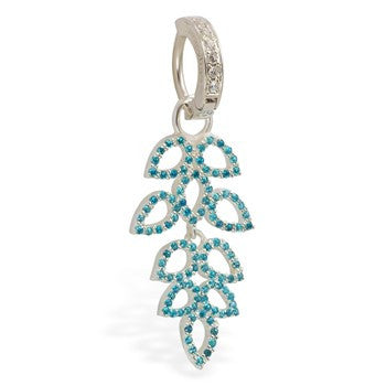 TummyToys® Swinger Charm. Navel Rings Australia. TummyToys® Paved Aquamarine Leaflet Swinger Charm with CZ Clasp