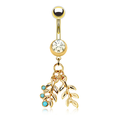 Dangling Belly Ring. Belly Bars Australia. Turquoise Tropical Leaf Belly Dangle