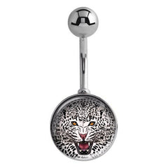 Roaring Snow Leopard Belly Rings