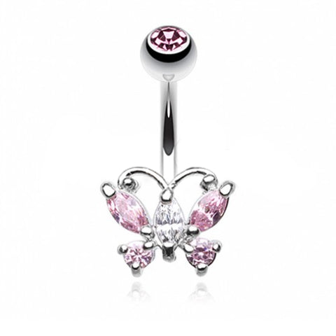 Classic Petite Butterfly Belly Ring - Fixed (non-dangle) Belly Bar. Navel Rings Australia.