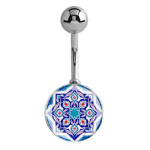 HUGE Sanskrit Mandala Lotus Navel Bar - Basic Curved Barbell. Navel Rings Australia.