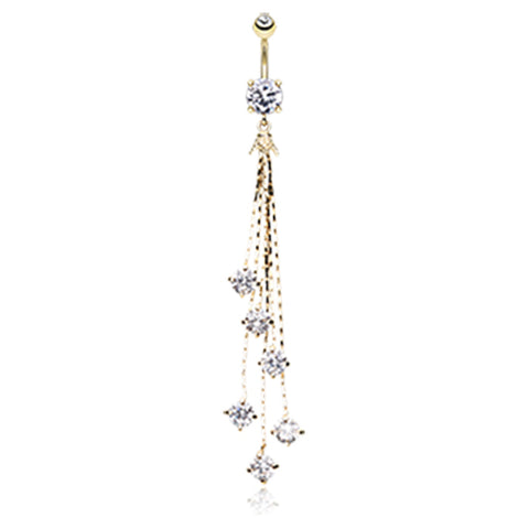 Dangling Belly Ring. Belly Bars Australia. Golden Night Deity Belly Dangle