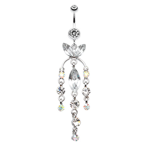 Extra long aurora borealis dangly belly ring 14g belly bars online ethereal chandelier belly ring dangling belly ring navel rings australia mozeypictures Images