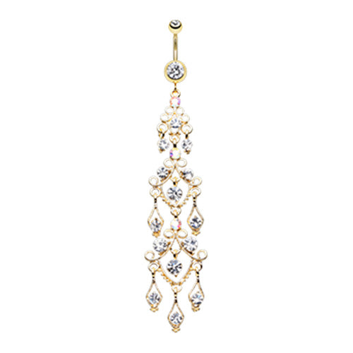 Glamourzon Glitz Luxe Belly Chandelier - Dangling Belly Ring. Navel Rings Australia.