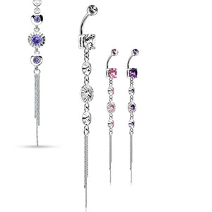 Classico Vintage Drop Chain Belly Bar - Dangling Belly Ring. Navel Rings Australia.