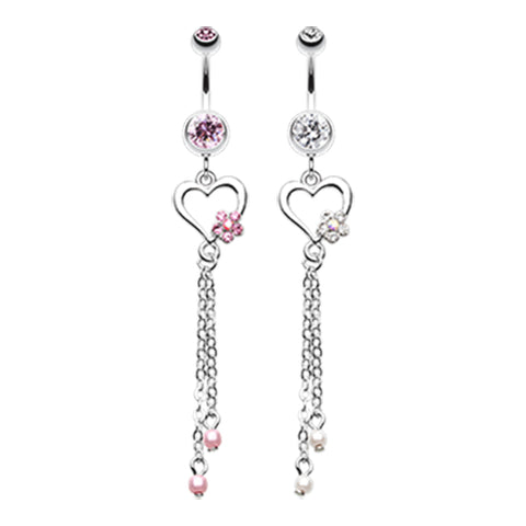 Dangling Belly Ring. Belly Rings Australia. Jardin Heart Belly Piercing Dangle