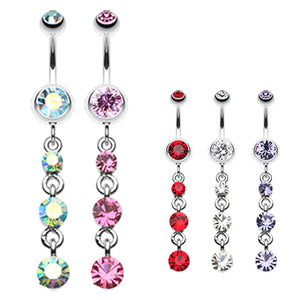 Jewel Droplets Navel Bar - Dangling Belly Ring. Navel Rings Australia.